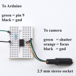 Arduino to DSLR camera via ILD74 optocoupler.