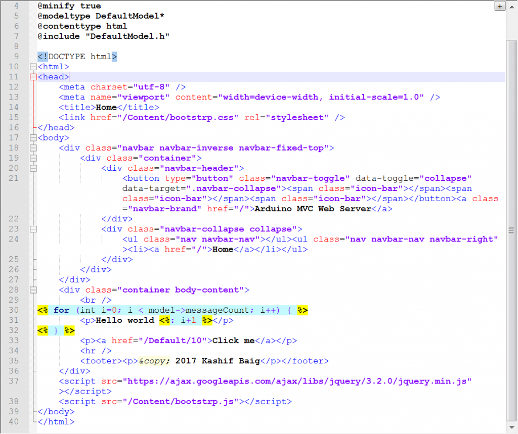 Ardiuno Web Server using MVC views.