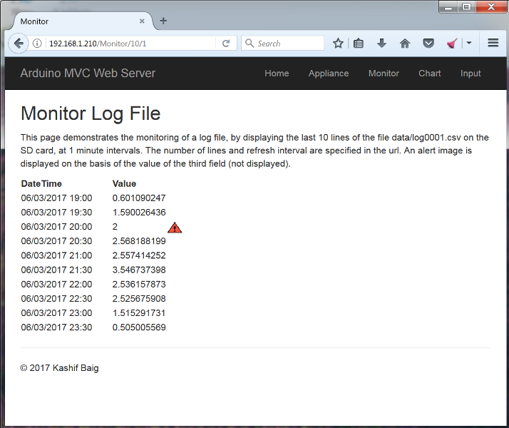 Arduino Web Server Monitor Log File